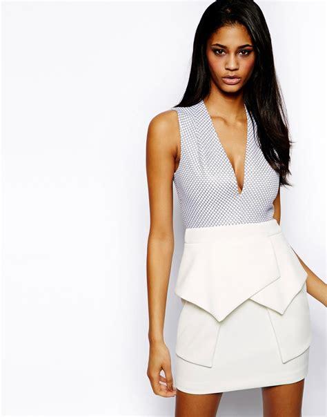 Premium Quinn Combi Dress lyst asos premium texture origami dress in blue