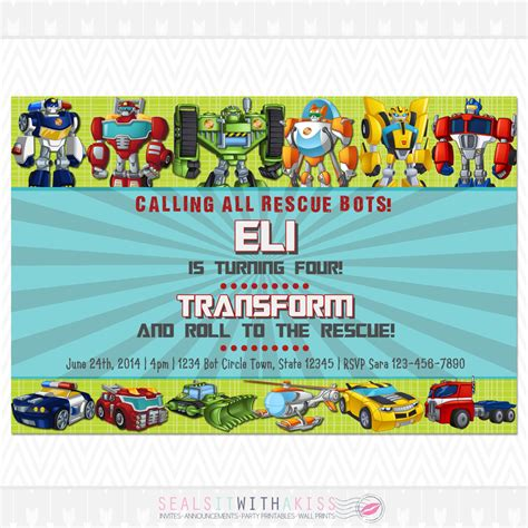 transformer invitation template transformers rescue bots birthday invitation