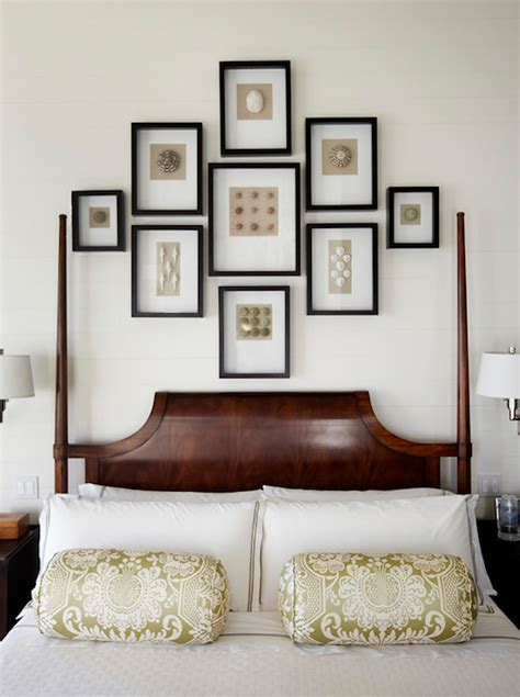 Frames Above Bed 4 Poster Bed Transitional Bedroom Grace Interiors