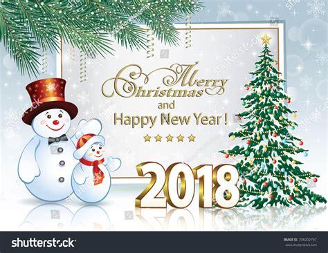 christmas card christmas tree snowmen stock vector  shutterstock