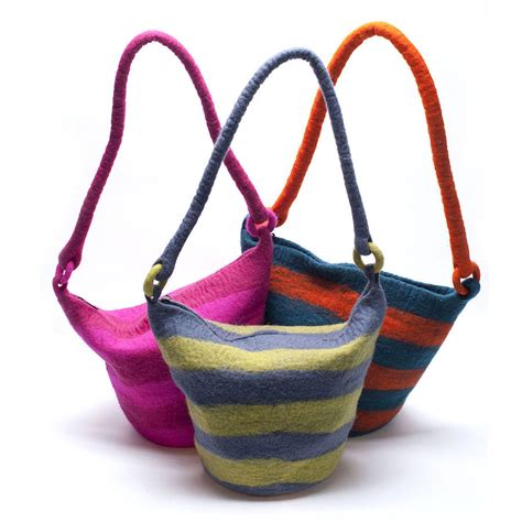 Handmade Felt Bags - handmade felt stripey bag green or pink by felt so