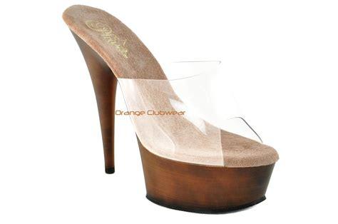 wood high heels pleaser womens 6 034 faux brown wood platform slide in