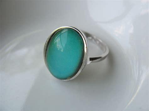 vintage sterling silver mood ring oval design blue green