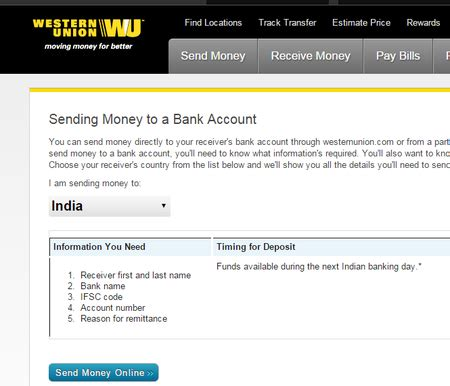 western union money from bank account send money directly to bank accounts in india