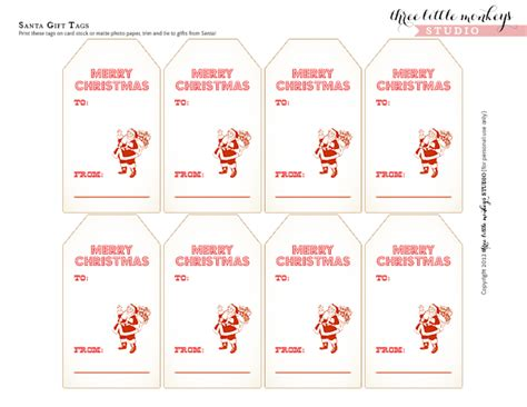 printable gift tags from father christmas free santa gift tags three little monkeys studio