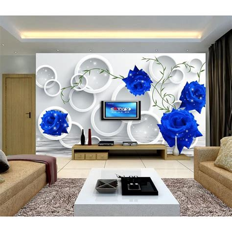 hd blue 3d customized photo wallpaper flowers large