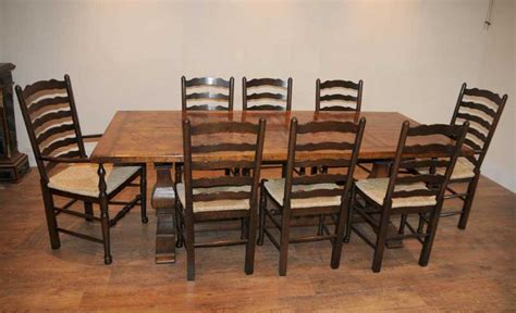 Farmhouse Kitchen Table Sets Ladderback Chair Refectory Table Kitchen Dining Set Farmhouse