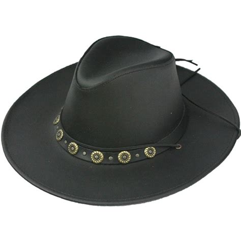 Cowhide Cowboy Hats - cowhide black leather cowboy hats usa made