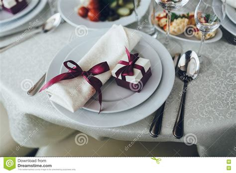 fancy place setting table in fancy restaurant set for dinner stock photo