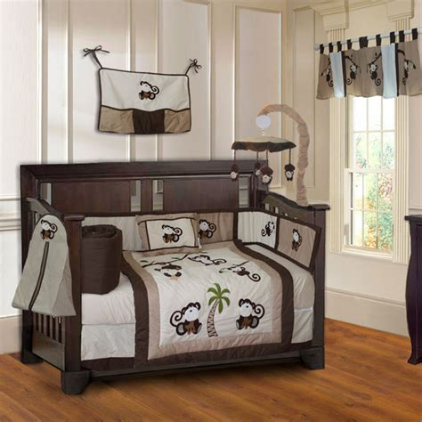nursery boy bedding sets 10 monkey boys baby crib bedding set includes mobile ebay