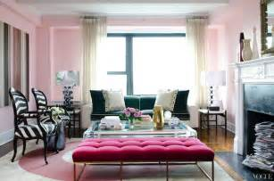 Pink And White Striped Bedroom Walls Pink Velvet Tufted Bench Contemporary Living Room Vogue