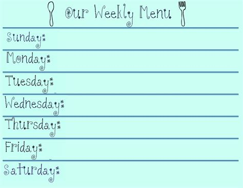 monthly dinner menu template 9 best images of printable weekly planners menu starting