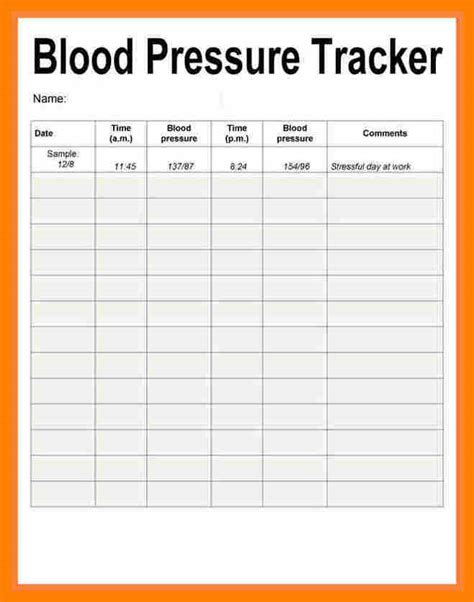 Blood Pressure Cards Template by 50 Bp Log Sheet Systematic Scholarschair