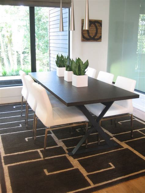 tibetan rug in dining room contemporary dining room