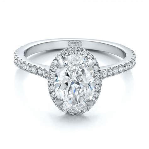 custom two tone halo engagement ring 100572