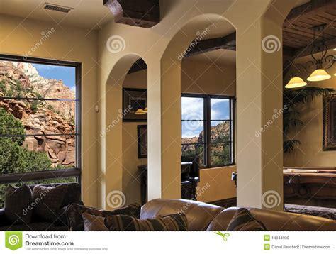 Southwest Home Interiors arizona modern mountainside villa home interior stock