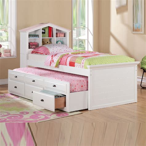 trundle bed for girls white girls kids house shaped bookcase headboard combo