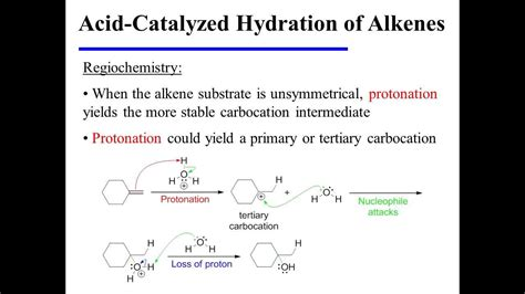 hydration and hydrogenation acid catalyzed hydration of alkenes