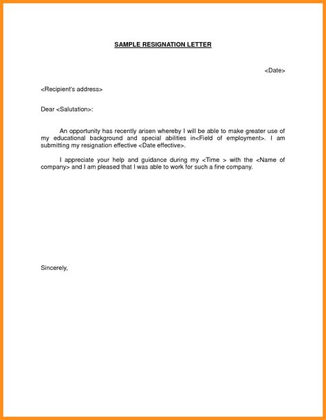 Resignation Letter For Better Opportunity by 8 Resignation Letter Format For Better Opportunity Mystock Clerk
