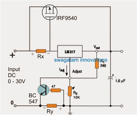 bc547 transistor max current lm317 with outboard current boost transistor circuit
