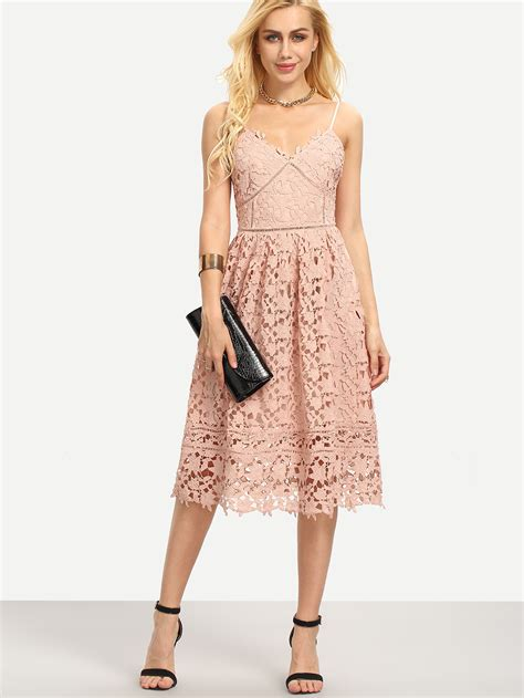 Hollow Out Dress hollow out fit flare lace cami dress
