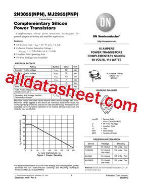 datasheet 2n3055 alltransistors 2n3055 datasheet pdf on semiconductor