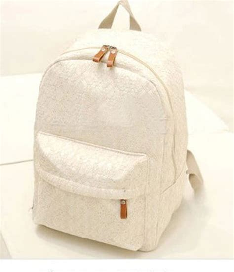 Canvas Travel Backpack White fashion white lace canvas travel bag backpack