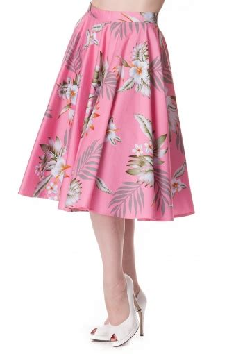 Skirt The Typical Day Swing The Usual Days Pv 0117015 50s swing skirt in pink hibiscus