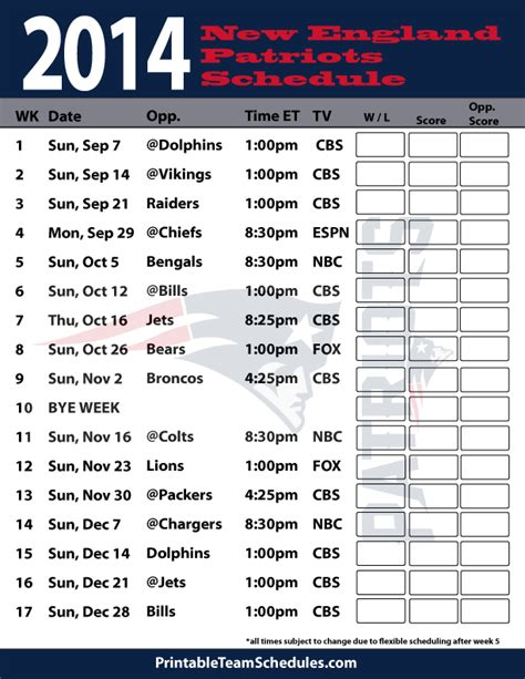 printable schedule for new england patriots patriots schedule print new england patriots schedule