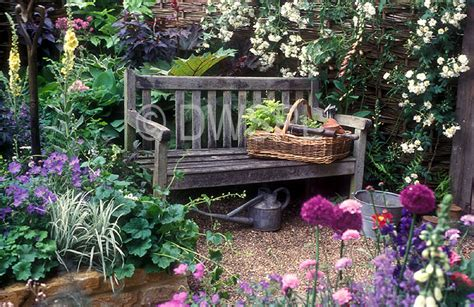 how to create a cottage garden cottage garden featuring wooden garden bench and assorted