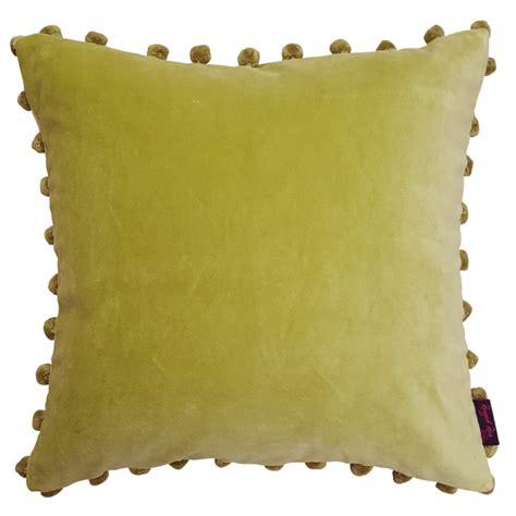 green velvet seat cushions arabella kiwi lime green velvet pom pom cushion