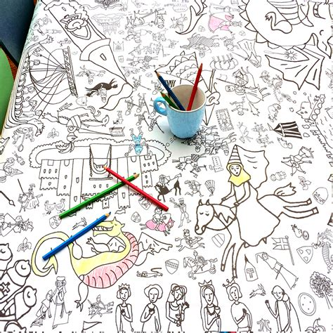 seaside colour in tablecloth eggnogg colouring in colour in knights and maidens tablecloth or poster