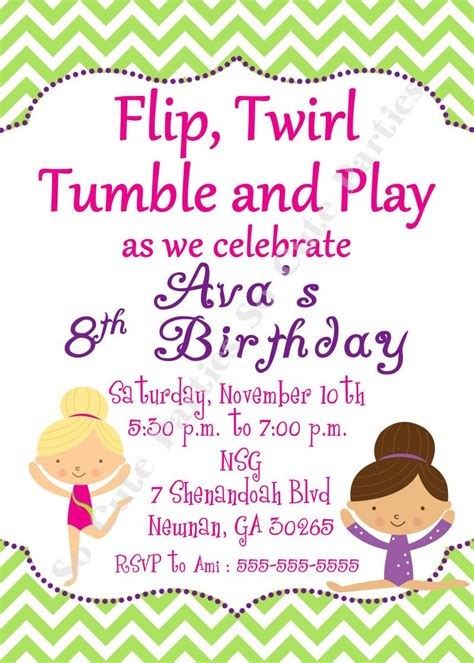40th Birthday Ideas Free Gymnastics Birthday Invitation Templates Gymnastics Birthday Invitation Templates