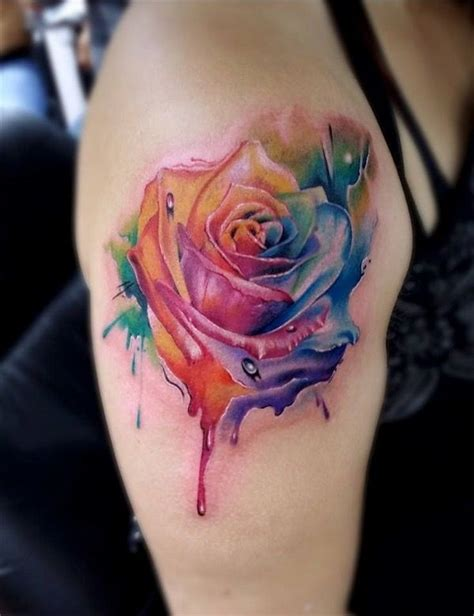 coloured rose tattoo 100 glowing color designs to ink