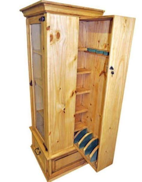 solid wood curio cabinet with lockable hidden gun storage