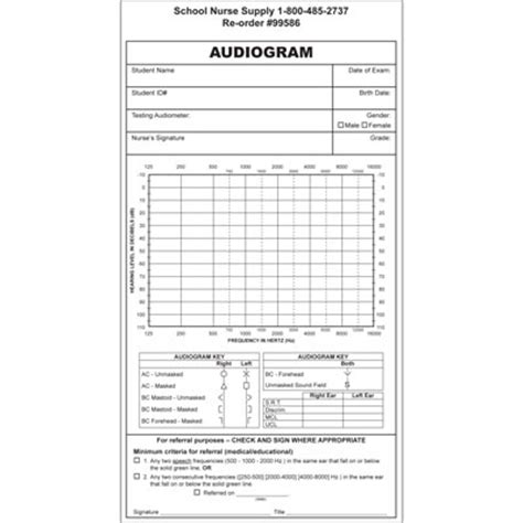 blank audiogram template audiogram forms 100 pkg