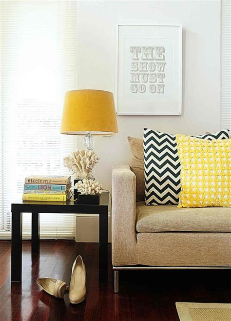 Living Room With Yellow Accents Parsons End Table Contemporary Living Room