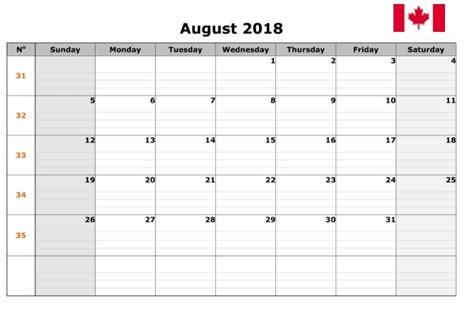 2018 Canadian Calendar August 2018 Calendar Canada Calendar Template Excel