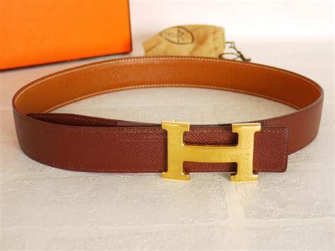 authentic hermes h logo reversible belt brown gold