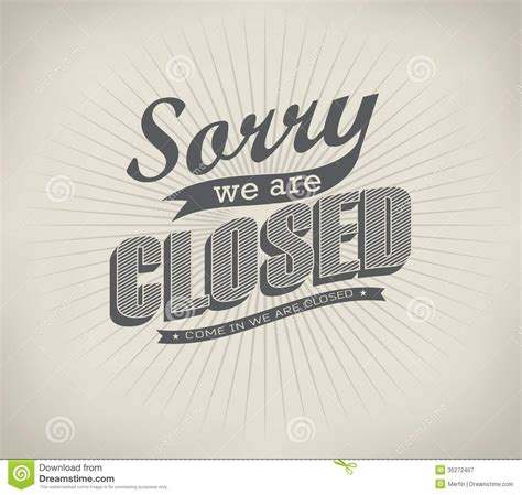 typography signs closed vintage retro signs royalty free stock photography image 35272407