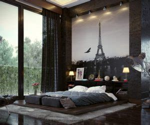 In bedrooms that feature large format artwork a low bed stays out of