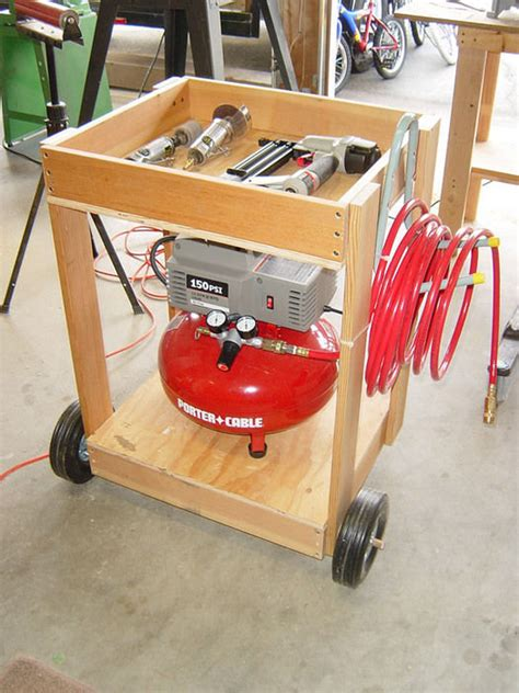 air compressor cart from scrap wood by pete santos lumberjocks woodworking community