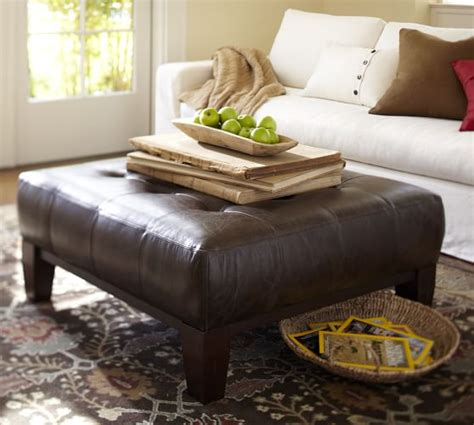 pottery barn leather ottoman coffee table sullivan leather square ottoman pottery barn