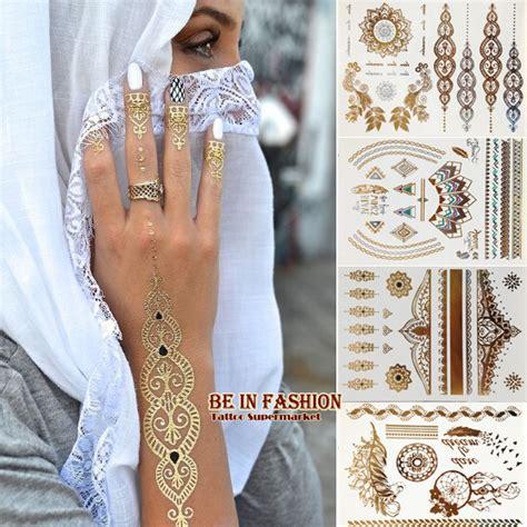 henna tattoo golden 4pcs new indian arabic designs golden silver flash tribal