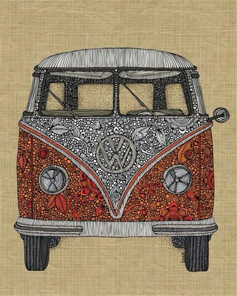 hippie volkswagen drawing drawing vw hippie much 3 zentangles inspiration