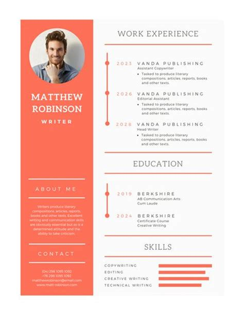 Orange and White Modern Resume Templates by Canva