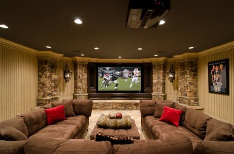 movie room sofa basement movie room traditional basement
