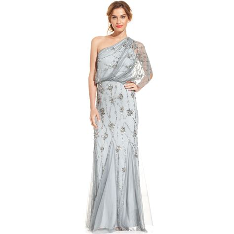 grey beaded gown papell oneshoulder beaded blouson gown in gray