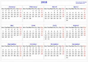 2018 Calendar Starting Monday 2018 Calendar Printable Calendar 2018 Calendar In