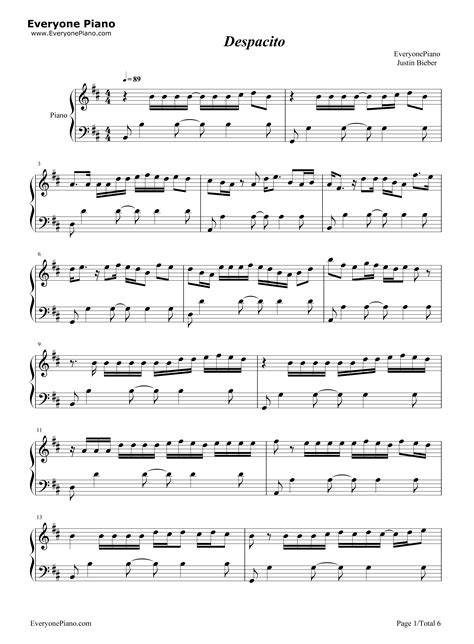 despacito piano sheet despacito justin bieber stave preview 1 free piano sheet